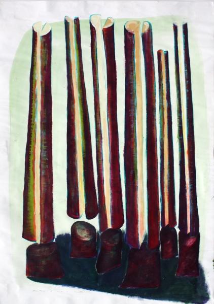 Fatörténetek I  / Wood-Sories I,  akril-papír / acrylic on paper, 2010
