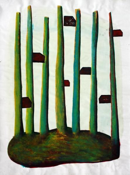 Fatörténetek II.  / Wood-Sories II,  akril-papír / acrylic on paper, 2010