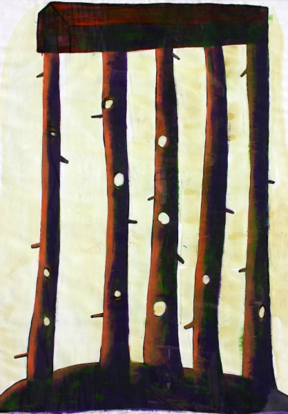 Fatörténetek III.  / Wood-Sories III,  akril-papír / acrylic on paper, 2010