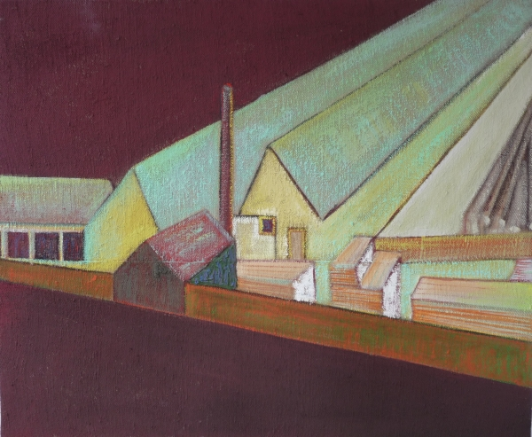 Deszkagyár / Planks Factory, akril - vászon / acrylic on canvas, 2013