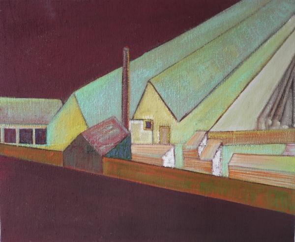 Deszkagyár / Planks Factory, akril - vászon / acrylic on canvas, 2013