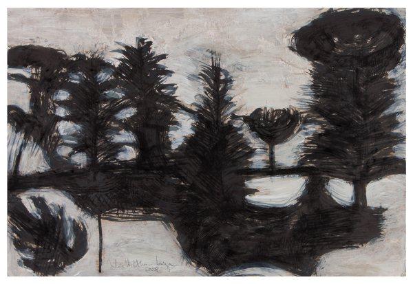 Cédrusok / Cedars, 2008, vegyes technika, papír / mixed media on paper