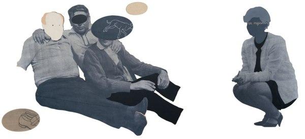 Véletlen találkozás. Nő idegen férfiak társaságában / Accidental meeting. Women in the company of strange men, 2013, vegyes technika / mixed media