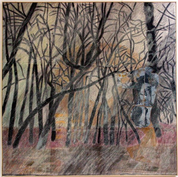 Pantomim az erdőben / Pantomime in the Forest, 1999, vegyes technika, vászon / mixed media on canvas