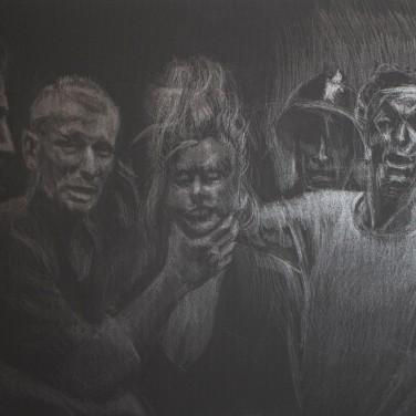 Lucza Zsigmond: 'Kollaboránsnő' (Vae Victis) grafit, fekete alapozott vászon (akril) 50x70 cm 2020.